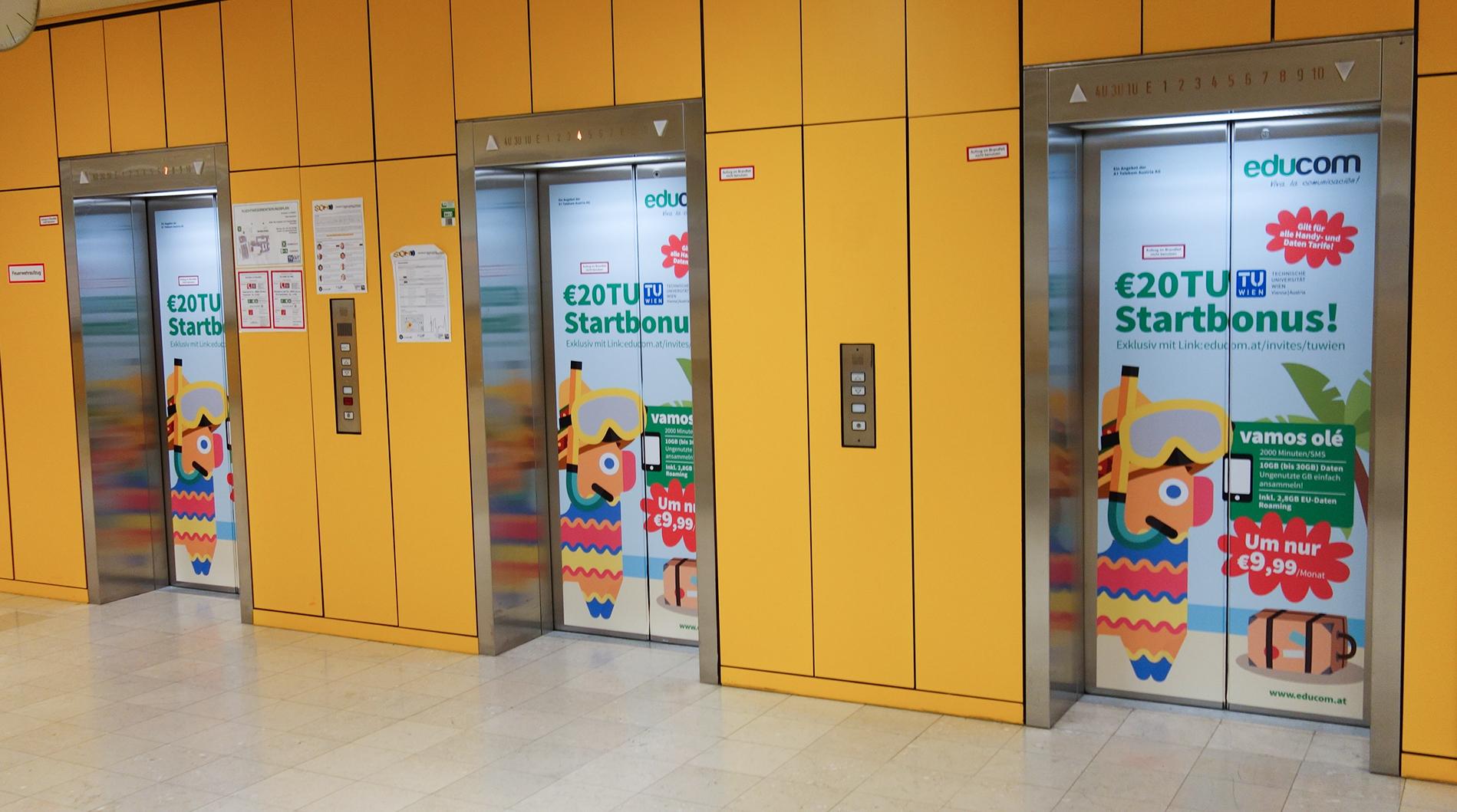 In Wartepausen kann Werbung noch besser wirken - Aufzugsbranding