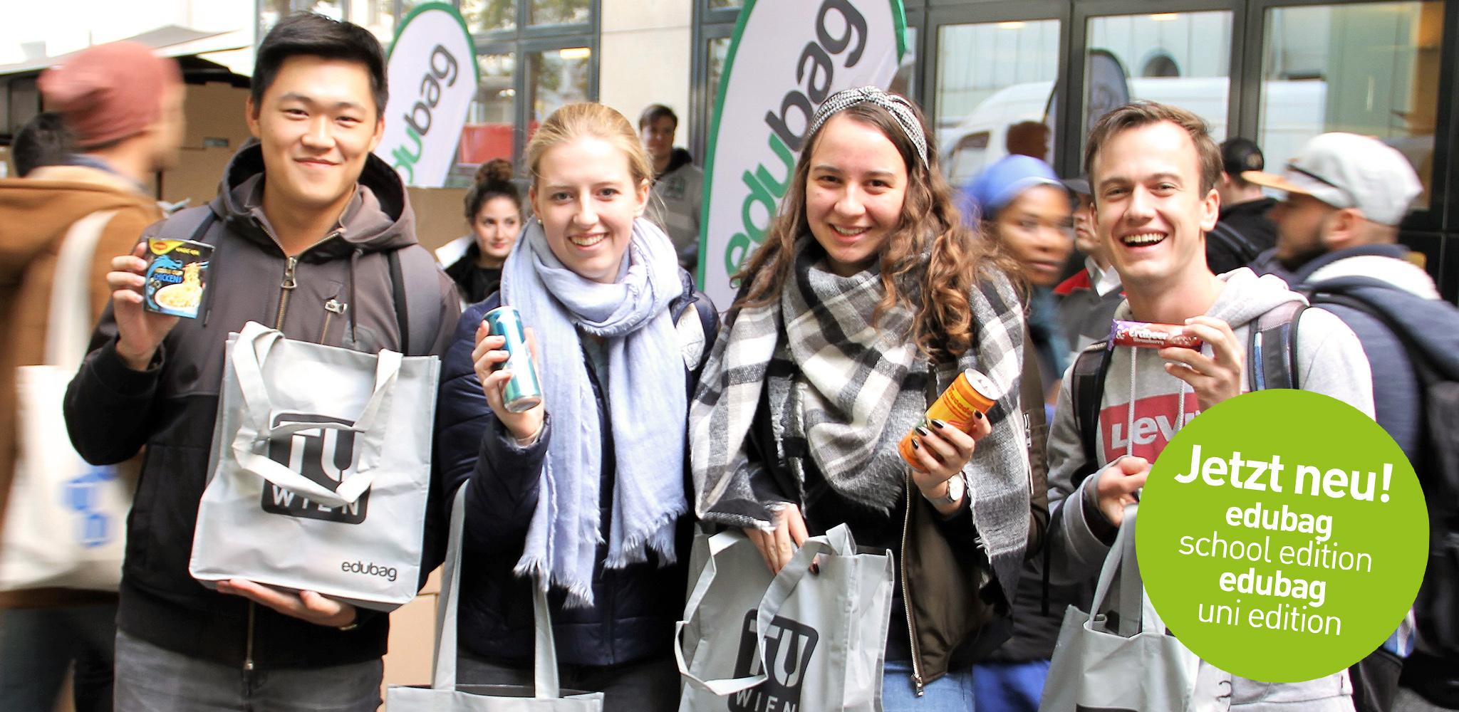 edubag - Die größte Samplingaktion an Österreichs Unis mit über 1 Million Goodies!